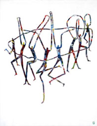 Ralf-Peter Post: Die Umarmung, Leinwand auf Acryl, 2004