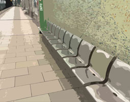 Sitzplätze in U-Bahn-Station
